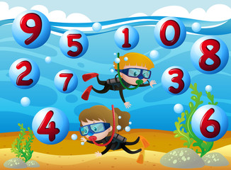 Kids scuba diving with numbers in the sea