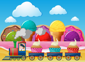 Train ride with cupcakes in wonderland
