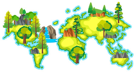 Map of the world with forest