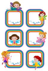 Rainbow frame templates with fairies flying