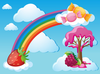 Sky scene with rainbow and candy