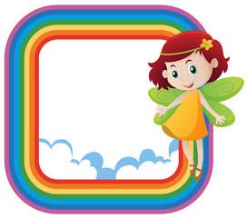 Rainbow frame with cute fairy flying
