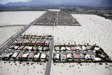 Homes with swimming pools are seen in the Palm Springs area