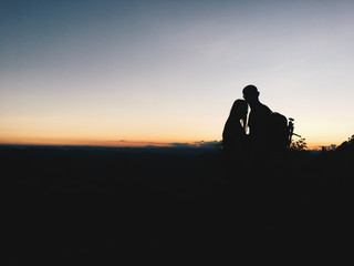 Silhouette couple in mountain
