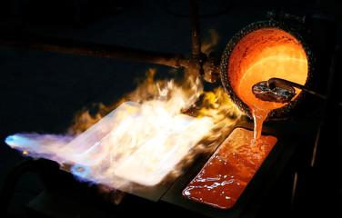 Ingots of 99.99 percent pure silver are cast at Krastsvetmet non-ferrous metals plant in Krasnoyarsk