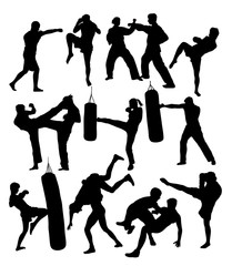 Free boxer Training Activity Silhouettes, art vector design