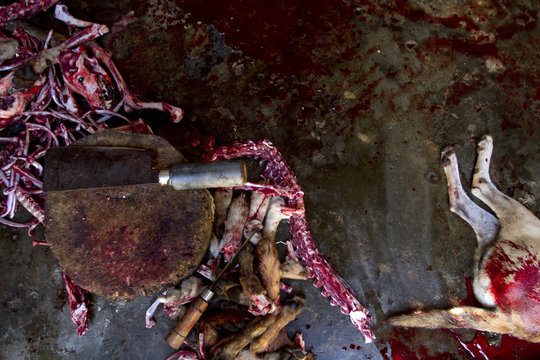 Dog bones are seen near a chopping board at a slaughter shop in Bambanglipuro village in Bantul