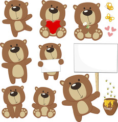 set of cute baby bears posing in differents positions and design elements, bees, honey jar, butterflies and blank placard for copy space isolated on white background