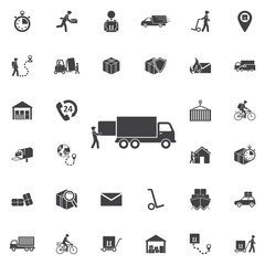 Warehouse icons: loading and unloading of goods