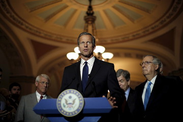 Senator John Thune (R-SD) speaks during a news conference following party policy lunch meeting at the U.S. Capitol in Washington