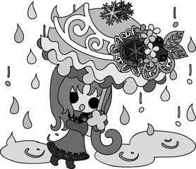 The cute illustration of winter and girls -Winter rain-