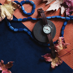 Fashion flat lay of autumn tehemed objects and accessories