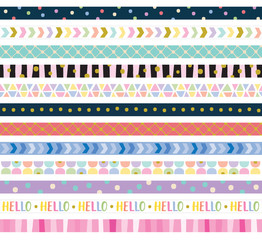 Vector illustration of cute decorative border frame set.