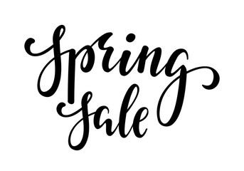 Spring sale. Hand drawn calligraphy and brush pen lettering.