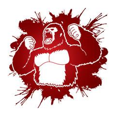 Angry King Kong, Big Gorilla designed on splatter ink background graphic vector