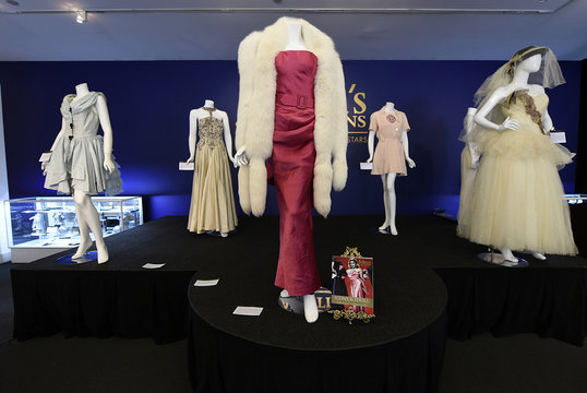 """""""Material Girl"""" gown worn by Madonna in her music video is pictured at Julien's Auctions for the upcoming """"Icons & Idols: Rock n Roll"""" auction in Beverly Hills"""