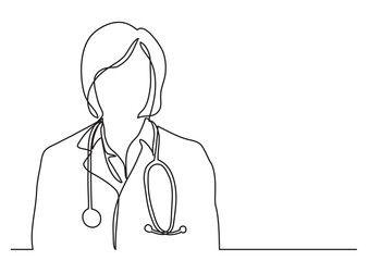 doctor with stethoscope - continuous line drawing