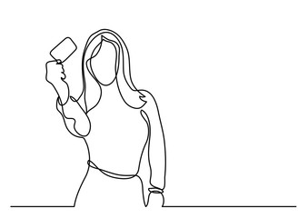 young woman showing credit card - continuous line drawing