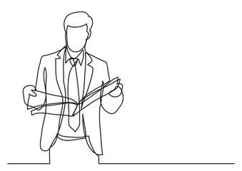 standing businessman reading newspaper - continuous line drawing