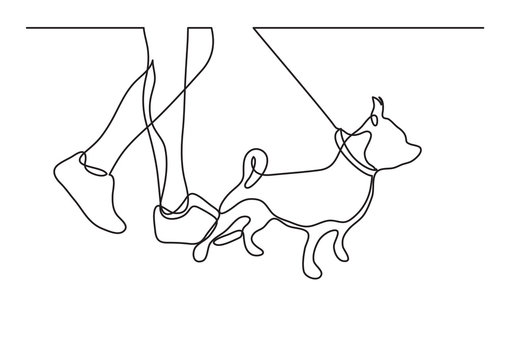 walking a dog - continuous line drawing