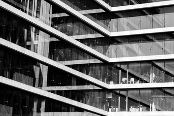 Geometry in modern architecture in black and white