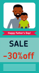 Happy Father's Day greeting banner. Dad and son. African Americans people. Creative website header or banner. Flat vector illustration.