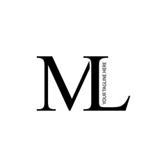 Initial Letter ML Rounded Isolated Design Logo