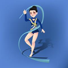 vector illustration of cute gymnastics player girl
