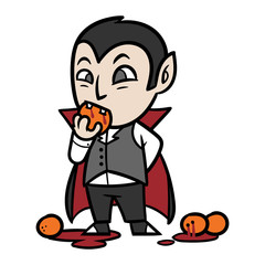 Cute Cartoon Vampire Dracula Biting Blood Orange Vector Illustration
