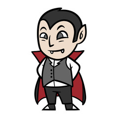 Cute Cartoon Vampire Dracula Vector Illustration