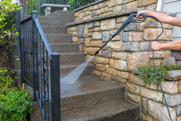 Pressure Power Washing the Front Entrance Stair Steps