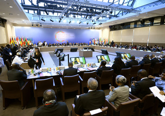A general view shows the opening session of the Elysee Summit for Peace and Security in Africa at the Elysee Palace