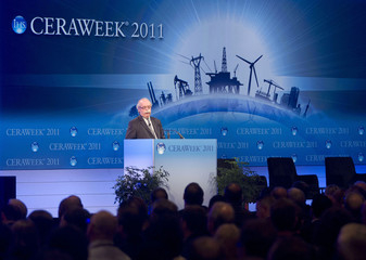 Christophe de Margerie, Chairman and CEO of French oil company Total speaks during CERAWeek