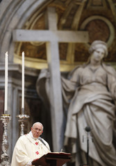 Pope Francis looks on as he leads a solemn mass in which he had ordained some new priests in Saint Peter's Basilica at the Vatican