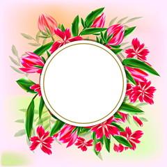 поздравительная открытка розовые цветы букет круглая рамка