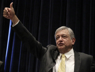 File picture of Mexico's Andres Manuel Lopez Obrador waving to supporters after a news conference in a hotel in Mexico City