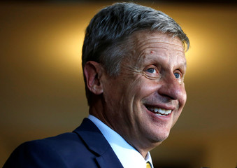 U.S. Libertarian presidential candidate Gary Johnson speaks to the media after making a foreign policy address at the University of Chicago in Chicago