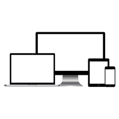 Set of realistic computer monitors, laptop, tablet and mobile phone.  Electronic gadgets isolated on white background.