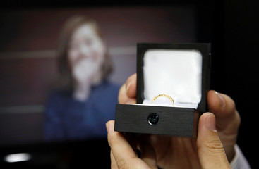 Package design company Sankyo's engagement ring box equipped with a spy-cam is displayed at the International Jewellery Tokyo trade show in Tokyo