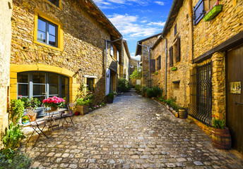 Oingt village in Beaujolais land and his small steet