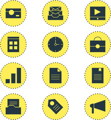 Vector Illustration Of 12 Web Icons. Editable Pack Of Bookmark, Bullhorn, Play Button And Other Elements.