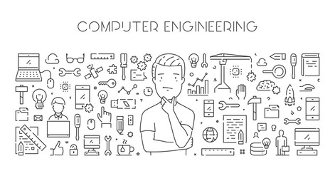 Vector line web banner for computer engineering