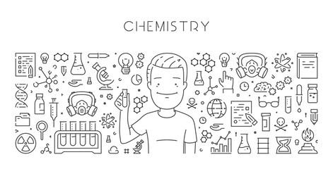 Vector line web banner for chemistry
