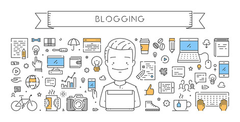 Vector line web concept for blogging
