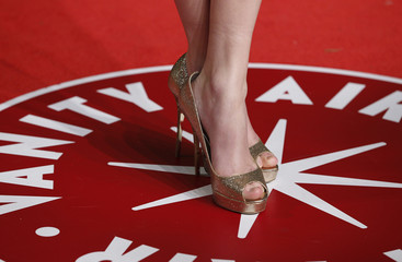 View of singer Taylor Swift's shoes arrives at the 2011 Vanity Fair Oscar party in West Hollywood