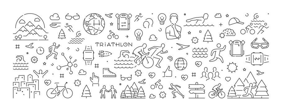 Vector line banner for triathlon and triathlete