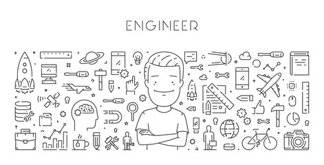 Vector line web concept of engineer