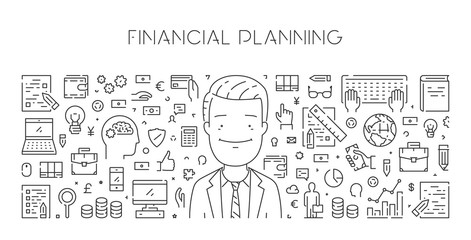 Vector line web banner of financial planning