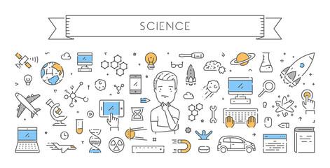 Line web design concept for science