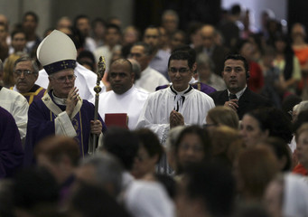 Archbishop of Sao Paulo Dom Odilo Pedro Scherer arrives to lead Ash Wednesday mass at Se Cathedral in Sao Paulo